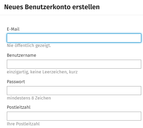 Screenshot Registrierung