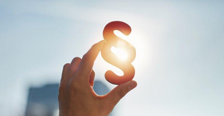 Auf diesem Bild siehst Du eine Hand, die eine Paragraphen-Symbol in die Höhe hält.